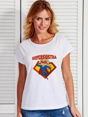 T-shirt damski SUPER SIOSTRA biały