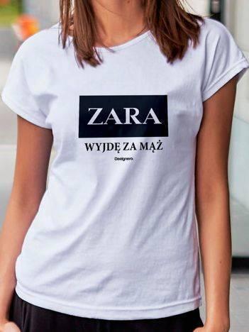 T-shirt damski ZARA WYJDĘ ZA MĄŻ biały