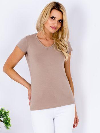 T-shirt damski beżowy V-neck
