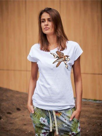 T-shirt damski biały z naszywką BIRD