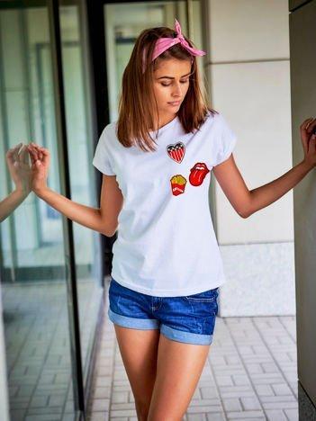 T-shirt damski biały z naszywkami FRITES