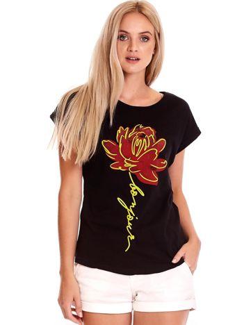 T-shirt damski czarny z kwiatem