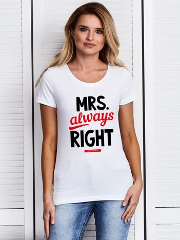 T-shirt damski dla par MRS. ALWAYS RIGHT biały