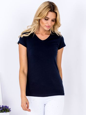 T-shirt damski granatowy V-neck