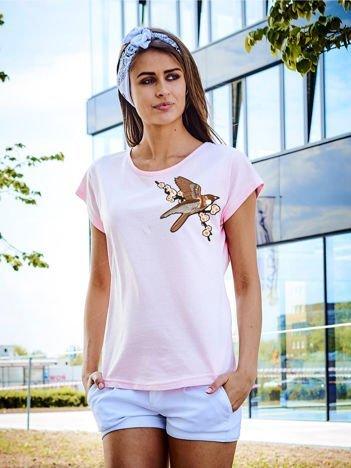 T-shirt damski jasnoróżowy z naszywką BIRD