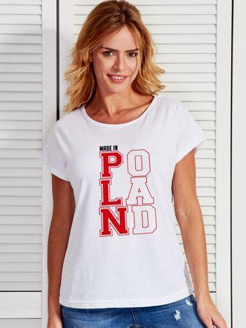 T-shirt damski patriotyczny MADE IN POLAND biały