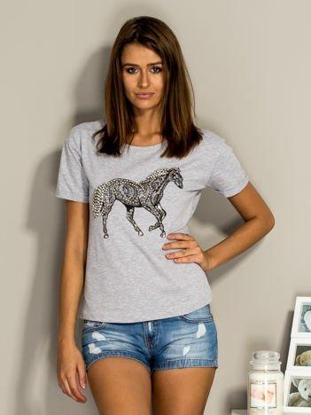 T-shirt damski z biżuteryjnym koniem szary