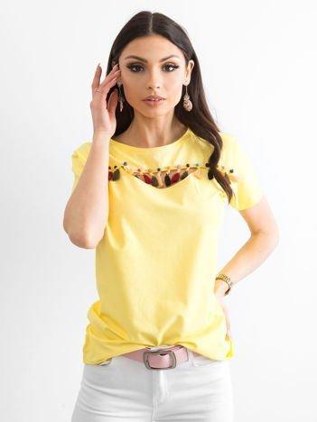 T-shirt damski z kolorowymi pomponikami żółty