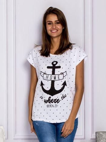 T-shirt damski z kotwicą biały