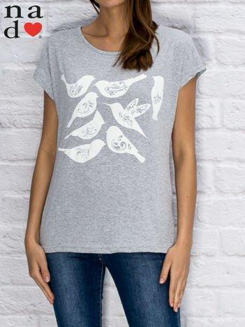 T-shirt damski z motywem ptaków szary