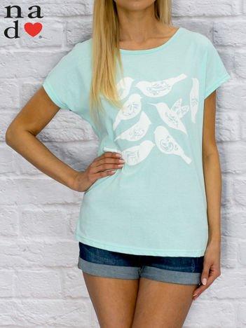 T-shirt damski z motywem ptaków turkusowy