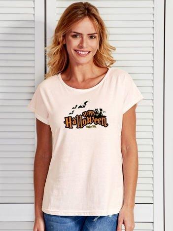 T-shirt damski z nadrukiem Happy Halloween ecru
