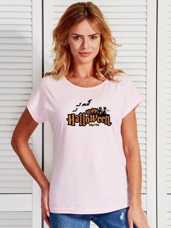 T-shirt damski z nadrukiem Happy Halloween jasnoróżowy