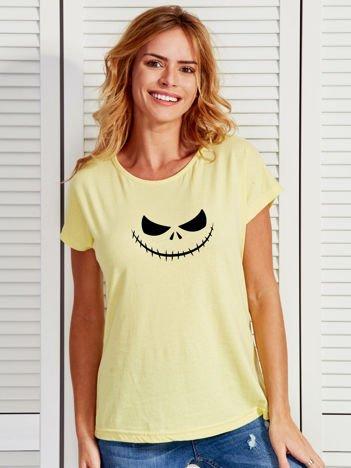 T-shirt damski z nadrukiem MIASTECZKO HALLOWEEN żółty