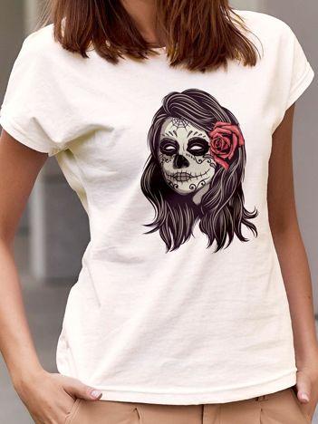 T-shirt damski z nadrukiem narzeczonej zombie ecru