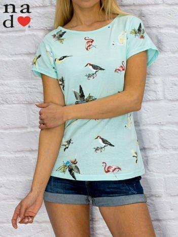 T-shirt damski z nadrukiem ptaków turkusowy