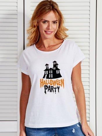 T-shirt damski z nadrukiem zamczyska Halloween biały