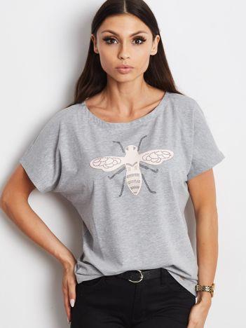 T-shirt damski z naszywką owada szary