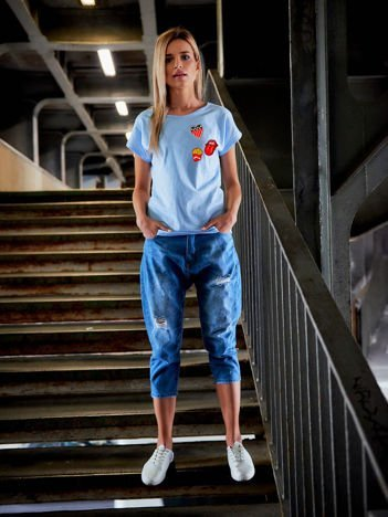 T-shirt damski z naszywkami błękitny FRITES