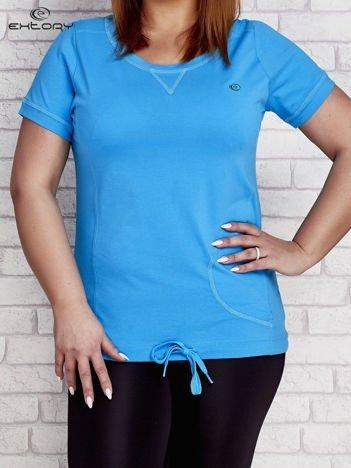 T-shirt damski z wiązaniem turkusowy PLUS SIZE