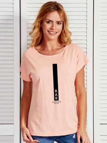 T-shirt damski znak zodiaku RAK łososiowy