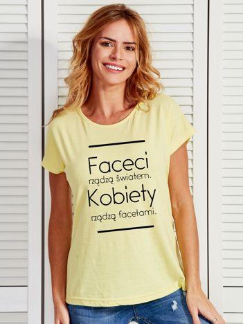 T-shirt damski żółty KOBIETY RZĄDZĄ FACETAMI