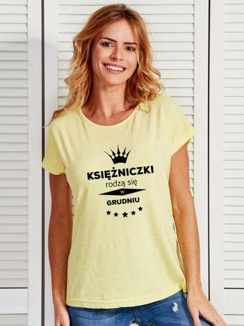 T-shirt damski żółty KSIĘŻNICZKI RODZĄ SIĘ W GRUDNIU