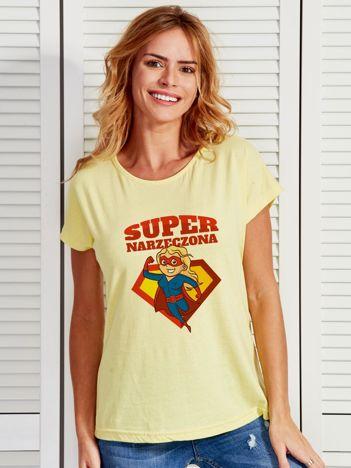 T-shirt damski żółty SUPER NARZECZONA blondynka