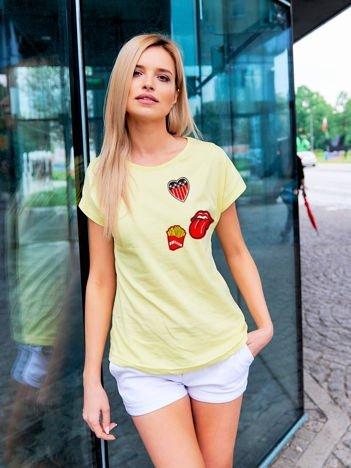 T-shirt damski żółty z naszywkami FRITES