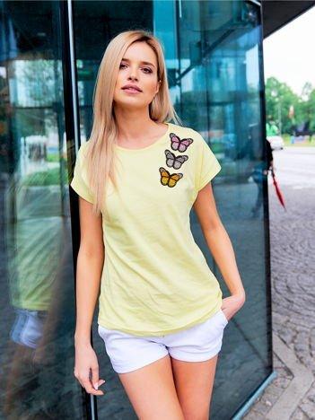 T-shirt damski żółty z naszywkami MOTYLE