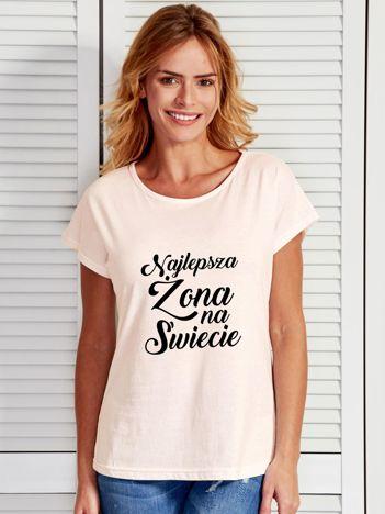 T-shirt ecru NAJLEPSZA ŻONA NA ŚWIECIE
