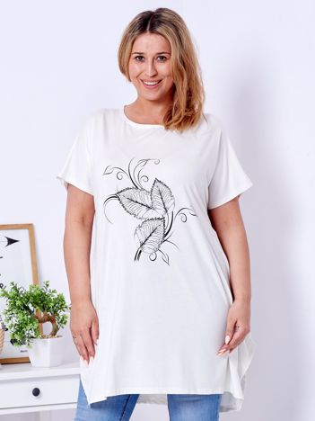 T-shirt ecru z motywem roślinnym PLUS SIZE