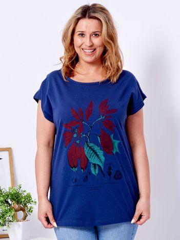 T-shirt granatowy z roślinnym printem PLUS SIZE
