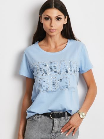T-shirt jasnoniebieski z napisem cut out