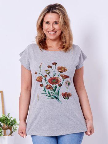 T-shirt jasnoszary z nadrukiem roślinnym PLUS SIZE