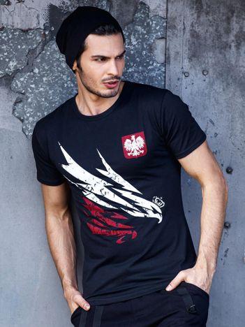 T-shirt męski czarny z orłem