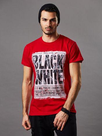 T-shirt męski czerwony Black White