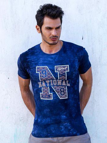 T-shirt męski granatowy z printem
