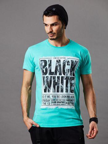 T-shirt męski miętowy Black White