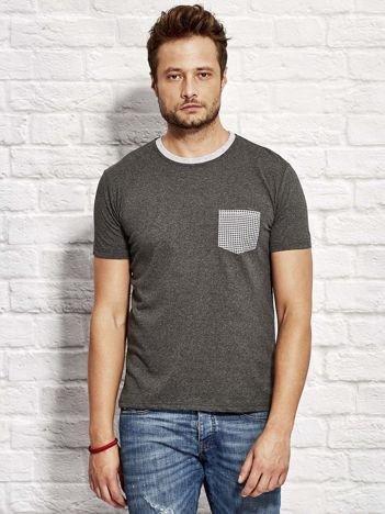 T-shirt męski z kieszonką w kratę ciemnoszary