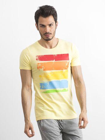 T-shirt męski z kolorowym nadrukiem żółty