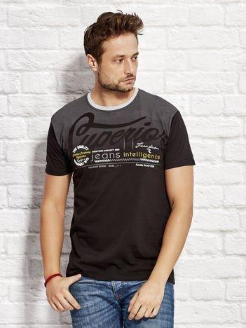 T-shirt męski z miejskim nadrukiem czarny