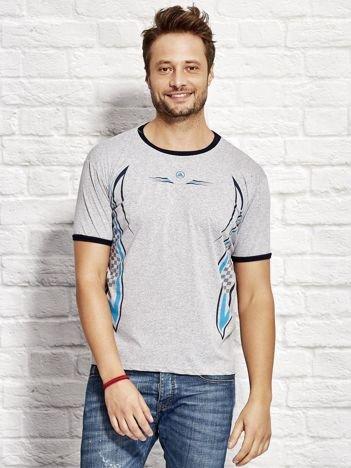 T-shirt męski z modelującym nadrukiem szary