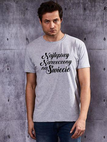 T-shirt męski z nadrukiem NAJLEPSZY NARZECZONY NA ŚWIECIE szary