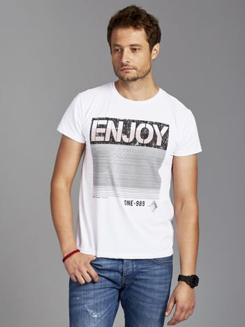 T-shirt męski z napisem ENJOY biały