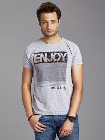 T-shirt męski z napisem ENJOY szary