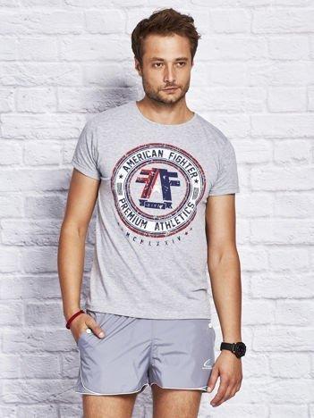 T-shirt męski z okrągłym nadrukiem szary