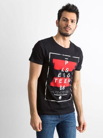 T-shirt męski z printem czarny