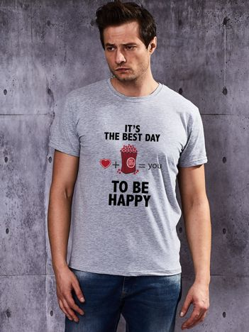 T-shirt męski z zabawnym motywem popcornu szary