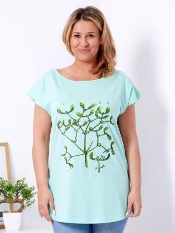 T-shirt miętowy z jemiołą PLUS SIZE